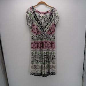 Eci New York V-Neck Pleated Short Sleeve Dress